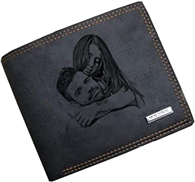 Double-Sided Photo Vintage soft leather mens Trifold wallet brown