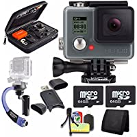 GoPro HERO+ LCD + Steadicam Curve for GoPro HERO Action Cameras (Blue) + 64GB Memory Card + Case for GoPro HERO4 and GoPro Accessories + 6pc Starter Kit Bundle