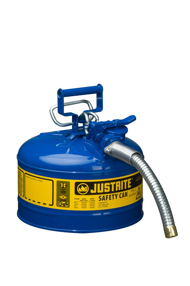 Justrite AccuFlow 7225330 Type II Galvanized Steel Safety Can with 1'' Flexible Spout, 2.5 Gallon Capacity, Blue
