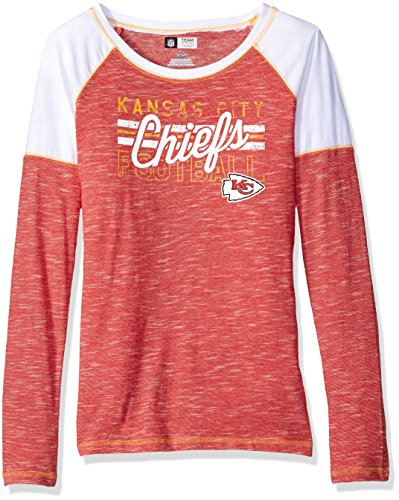 NFL Kansas City Chiefs Women's Long Sleeve Raglan Open Neck Tee, Small, Red Staccato/White/Yellow Gold
