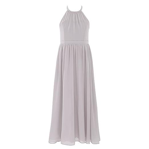 b28973d70227d CHICTRY Big Girls Junior Halter Neck Chiffon Long Party Wedding Evening  Prom Gown Flower Dress Gray