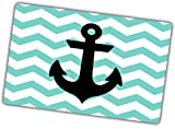 Custom & Decorative {16'' x 10'' Inch} 1 Single, Large Flexible Non-Slip Mousepad for Gaming, Made Of Easy-Glide Neoprene w/ Chevron Teal Stripe Anchor Nautical Style [Blue, White, & Black]