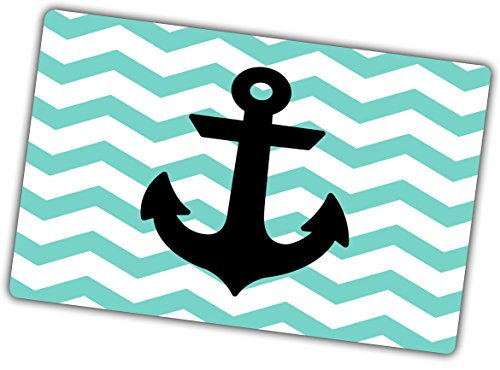 Custom & Decorative {16'' x 10'' Inch} 1 Single, Large Flexible Non-Slip Mousepad for Gaming, Made Of Easy-Glide Neoprene w/ Chevron Teal Stripe Anchor Nautical Style [Blue, White, & Black] by mySimple Products