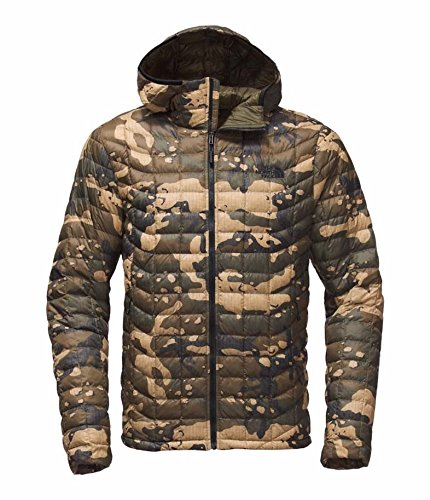 The North Face Men's Thermoball Hoodie - Burnt Olive Green Woodchip Camo Print L (Past - Mens North Jacket Face Hooded
