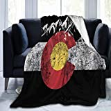 Vintage Mountain Colorado Flag Flannel Fleece Blanket Soft Warm Fleece Throw Blanket Premium Durable Sofa Blanket Comfortable Lightweight Plush Throw Blanket for Office Home Bed