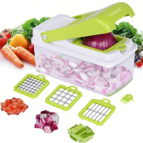 Adoric Vegetable Chopper, Kitchen Veggie Fruit Dicer Slicer, Food Cutter with 3 Interchangeable Blades Set, Food Container and Cleaning Brush for Onion, Potato, Fruit, Cheese and More