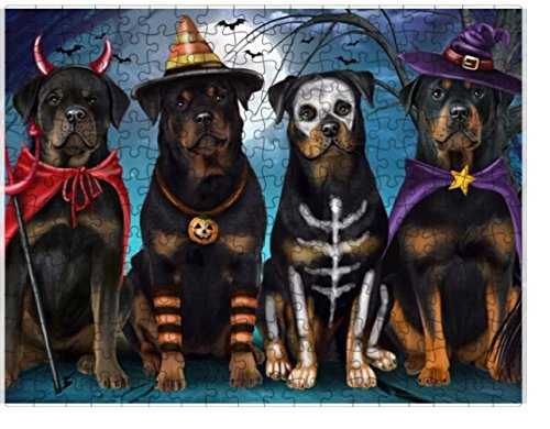 Happy Halloween Trick or Treat Rottweilers Dog in Costumes Puzzle with Photo Tin (1000 pc. 20