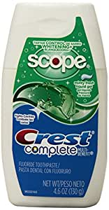 Crest Complete Tartar Control Whitening Plus Scope Liquid Gel Toothpaste, Minty Fresh 4.6 oz, 6 Count