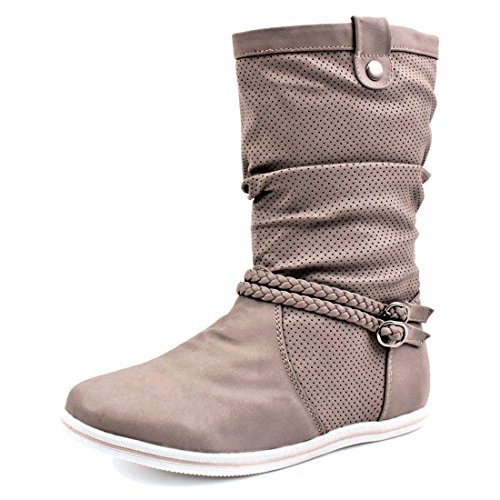 Damen Schlupf Stiefel Stiefeletten Biker Boots in Lederoptik X-Khaki
