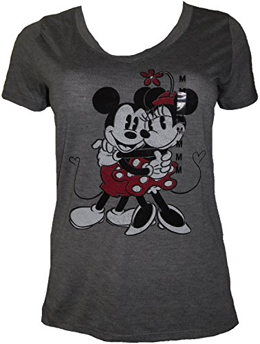 Disney-Womens-Mickey-Minnie-Mouse-Soft-V-Neck-Curved-Hem-T-Shirt