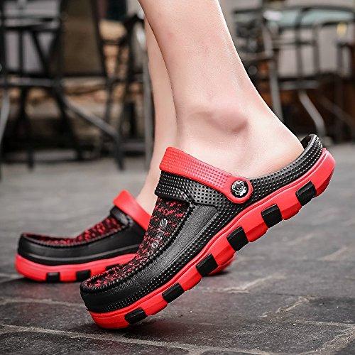 Xing Lin Sandalias De Hombre Zapatillas Hombres Frío Verano Remolque Skid Playa Zapatos De Ocio Zapatos Agujero Nido De Pájaro Marea Zapatos De Jardín gules
