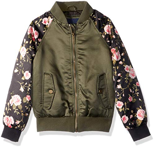Limited Too Girls' Big Bomber Jacket with Floral Print, Olive, 7/8
