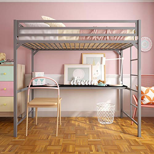 DHP 4307429 Miles Twin Metal Loft Bed with Desk, Space-Saving Design, Silver