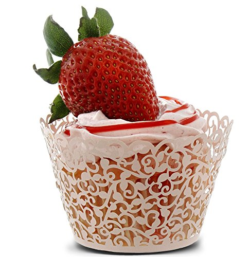 100 Piece Lace Cupcake Liners - Decorative Laser Cut Wrappers, Muffin Cups - Elegant Vine Hollow Pattern Design for Weddings, Birthday Party, Baby Showers, Christmas and Special Occasions - Pink by Juvale (Image #2)
