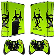 Skin for Xbox 360 Slim Sticker Decals for X360 Custom Cover Skins for Xbox360 Slim Modded Console Game Accessories Set Decal Stickers and 2 Wireless Remote Controllers - Biological Harzard