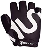 BOODUN Unisex Cycling Gloves, Black & White, Medium