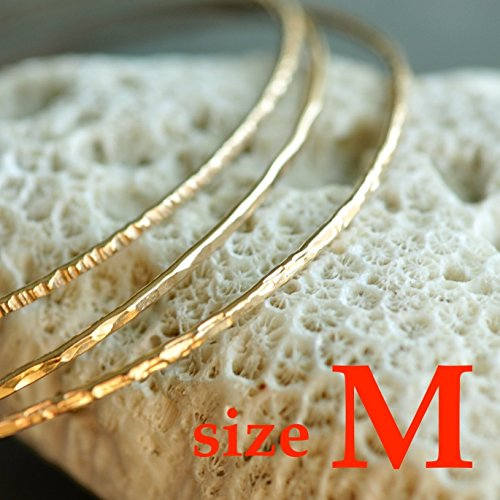 14k Gold Filled Bracelet (14k gold filled hammered skinny Stacking Bangles set of 3 - 3 textures, sz MEDIUM)