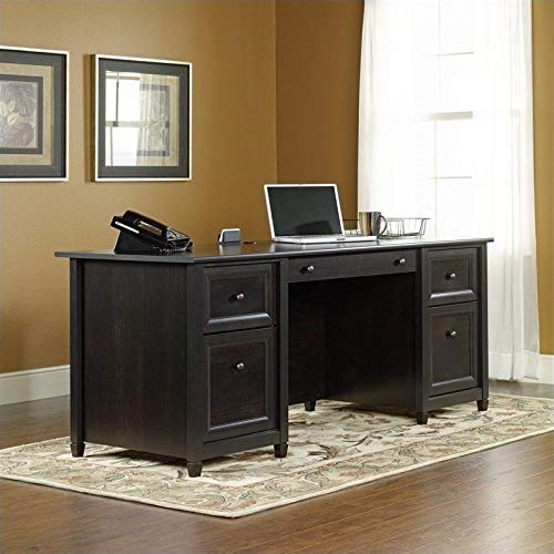 Sauder Edge Water Executive Desk, Estate Black finish