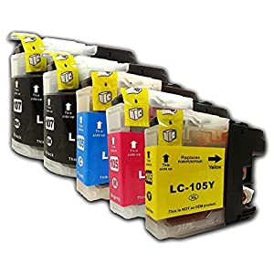 5-Pack Compatible Brother LC107 & LC105 (2 LC-107BK+1 LC-105C+1 LC-105M+1 LC-105Y) Black Cyan Magenta Yellow Ink Cartridges for DCP-J4110DW MFC-J4410DW,J4510DW,J4610DW,J4710DW,J4310DW by 4Benefit