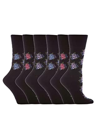 2776f4a2d9c71 3 Pairs of Ladies Sock Shop Gentle Grip Patterned Socks, Various  Designs/Colours,