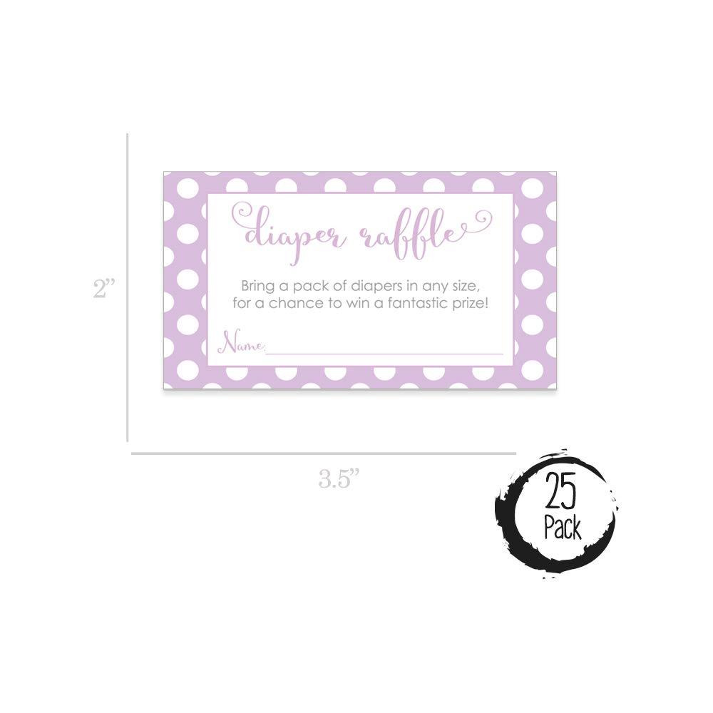 Pink /& Lavender Polka Dot Baby Shower Supplies Pink /& Lavender Polka Dot Baby Shower Diaper Raffle Tickets Set of 50