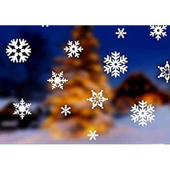 Amazoncom Christmas Snowflake Window Stickers Decorative Wall - Snowflake window stickers amazon