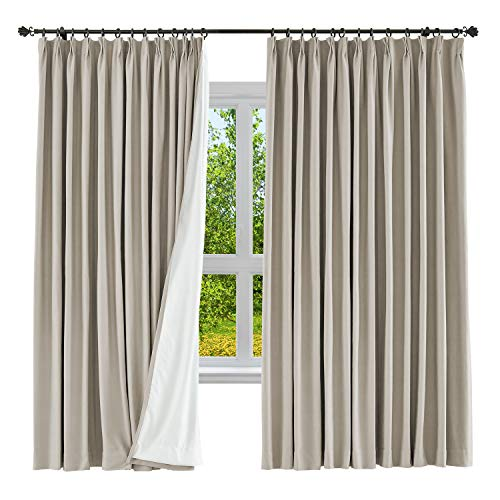 (cololeaf Cotton Linen Curtains Room Darkening Extra Long Textured Curtains Pinch Pleated Drape Bedroom Living Room, 100