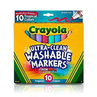 Crayola Ultra Clean Washable Markers, Tropical, Gift for Kids, 10Count