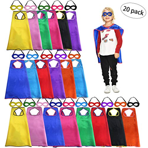 Kids Super Hero Capes Bulk with Masks for Boys Girls Superhero Party Supplies -