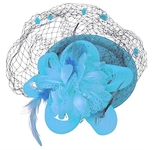 Fascinator Hair Clip Headband Pillbox Hat Flower Weeding Cocktail Tea Party (A Light Sky - Blue Hat Sky Lightweight