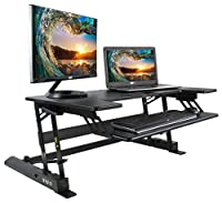 VIVO Height Adjustable Standing Desk Monitor Riser Gas Spring | Tabletop Sit to Stand Workstation