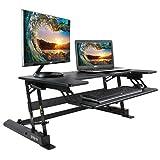 VIVO Height Adjustable Standing Desk Monitor Riser Gas Spring | Tabletop Sit to Stand Workstation (DESK-V000B)