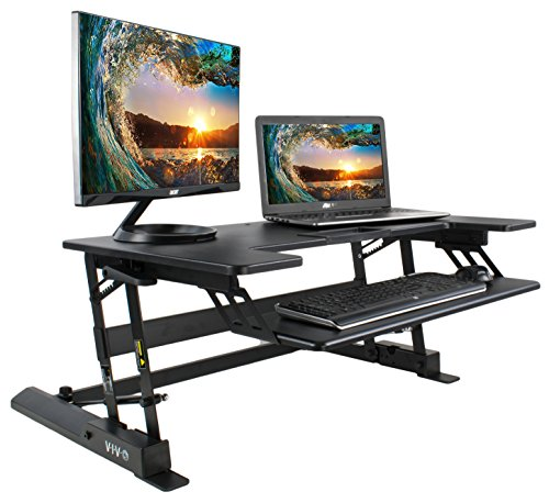 VIVO Height Adjustable Standing Desk Sit to Stand Gas Spring Riser Converter | 36'' Tabletop Workstation fits Dual Monitor (DESK-V000B) by VIVO