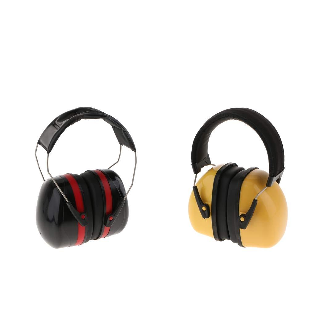 ddc426e6f9e Amazon.com : B Blesiya 2X Professional Ear Defenders Soundproof Headset  Anti-Noise Black/Red+Yellow : Sports & Outdoors