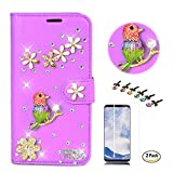 STENES LG K30 Case - Stylish - 3D Handmade Crystal Pretty Bird Flower Floral Wallet Credit Card Slots Fold Media Stand Leather Cover with Screen Protector for LG K30/LG Premier Pro 4G LTE - Purple