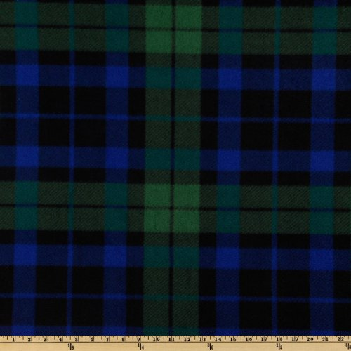 WinterFleece Green/Blue/Black Watch Plaid Fabric By The ()