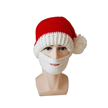 8b0b8c30dd2 Buy Amosfun Santa Claus Cap Red Knitted Hat Funny Adult Beard Hats  Christmas Ornaments for Xmas Party New Year Decoration Cosplay (White)  Online at Low ...