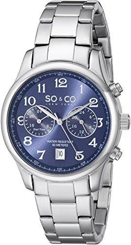SO&CO New York Men's 5031.3 Monticello Quartz Blue Dial GMT Date Stainless Steel Link Bracelet Watch