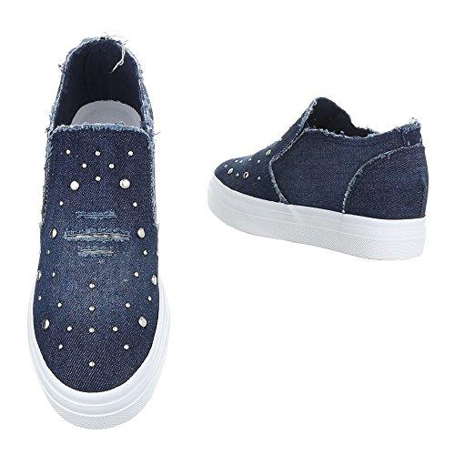 Ital-Design - zapatos de tiempo libre Mujer Dunkelblau 6322-Y