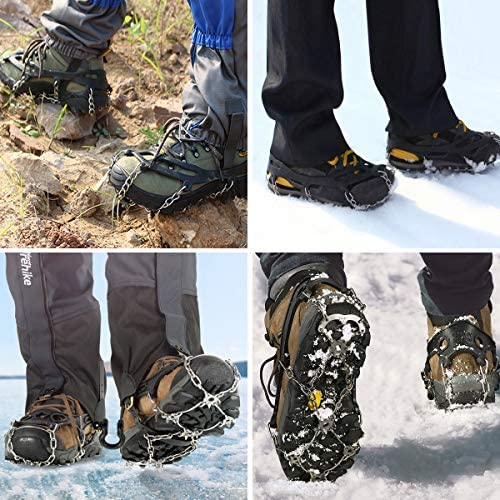 Leadrise Ice Snow Grips Crampons Traction Cleats, Ice Cleats Crampons for Boots Shoes with 10 Stainless Steel Spikes and Durable Silicone