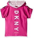 DKNY Girls' Big Open Shoulder Hooded T-Shirt, Dragon Fruit, 12