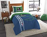 "NBA Minnesota Timber Wolves Printed Twin Comforter & Printed Sham, 64"" x 86""/24"" x 30"", Blue"