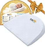 Universal Baby Bassinet Wedge for Acid Reflux, Spit ups, Colic Relief   Elevated Incline Pillow for Better Night Sleep for Newborn  Washable Cotton and Waterproof  Nursery Safe  