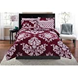 Contemporary Damask Pattern Classic Noir Bed In A Bag Bedding Set (Twin XL, Burgundy)