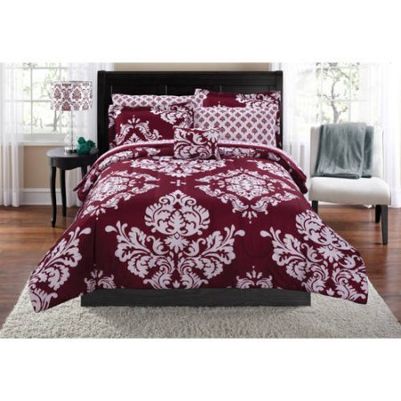 Contemporary Damask Pattern Classic Noir Bed In A Bag Bedding Set (King, Burgundy