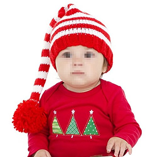 Kafeimali Baby Christmas Elf Long Tail Crochet Beanie Knit Hat Stocking Caps (Red) ()