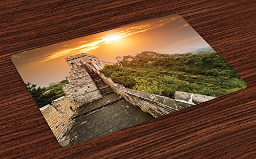 Ambesonne Great Wall of China Place Mats Set of 4, The Magnificent Heritage of World Background Brick Borders Picture, Washable Fabric Placemats for Dining Room Kitchen Table Decor, Orange Green
