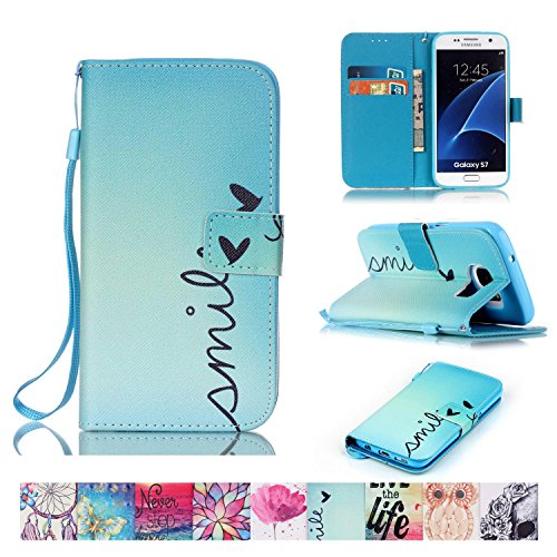 Galaxy S7 Case, Firefish [Kickstand] Flip Folio Wallet Cover Anti-Scratches Protective Shell with Cards Slots Magnetic Closure for Samsung Galaxy S7
