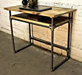 Furniture Pipeline Industrial Writing Desk with Lower Shelf, Metal with Reclaimed Aged Wood Finish, Grey Steel Pipes and Brass Fittings with Natural Stained Wood Review