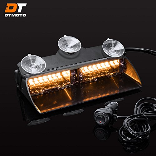9 16-Watt LED Emergency Dash Light for Vehicles w/19 Modes and IP65 Waterproof Rating - Amber Interior Flashing Warning Strobe Lights